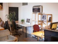 Large desk space available in bright and relaxed creative studio (Hackney Downs Studios)