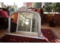 Matt Silver Overmantle Mirror