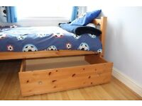 Single pine bed with mattress and 2 under drawers
