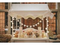 2 HANDMADE TRADITIONAL WHITE CANDY CARTS 3 POST BOXES & A HEART SHAPED FERRERO ROCHER STAND FOR HIRE