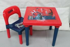 Cars 2 childrens plastic table and chair