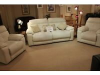 2 seater reclining sofa with 2 x recliner armchairs.