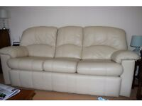 G Plan Ivory Leather Settees - 2 settees; one 2-seater and one 3-seater. Immaculate condition.