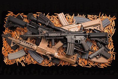 Assault Rifle Weapons High Capacity Magazines Ammo Art Print Poster 18x12