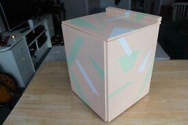 Handmade, hand-painted wooden storage chest. 42 x 33 x 33cm
