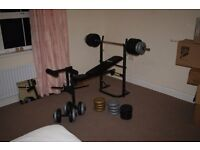 Bench Press (Including Leg Extensions) + Weights + Dumbells