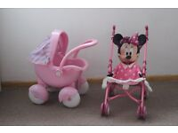 Girls Pink Pram and Minnie Mouse Stroller - VGC
