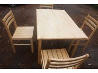 table and four chairs £20
