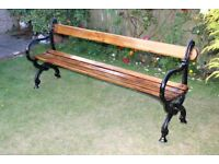 Antique Victorian Oak and Cast Iron Bench (1860) - All Original Parts - 4 Seater - Refurbished