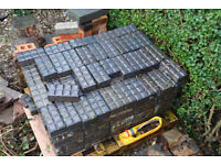 Reclaimed Staffordshire Blue Stable Block Brick Pavers Period Paving (8 Panelled Chocolate Blocks)