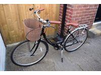 "Viking Prelude Ladies Traditional 7 Speed Bike Black/ 19"" Dutch Bike/ Basket"