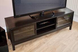 Black TV Stand With Glass Sliding Doors & Adjustable Shelving.