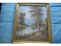LARGE FRAMED FOREST / RIVER SCENE CANVAS OIL PAINTING
