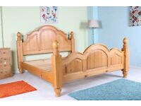 SUPER KINGSIZE BED SOLID PINE LIGHT IN COLOUR LOVELY CONDITION - CAN COURIER