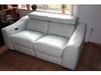 White leather two seats sofa with two electric/power recliners only £290