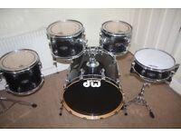 PDP Pacific (DW) FX Series Sapphire Black 5 Piece Drum Kit - DRUMS ONLY