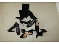 COLLECTION of black shoes mostly NEW ~ UK size 5