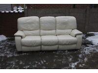 Cream Three Seater Leather Recliner Sofas