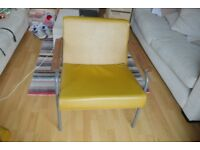 Old Railway Masters Chairs (2) in mustard yellow & grey