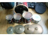 Pearl Drum Kit including Cymbals, Cases, Hardware