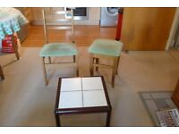 Tiled Coffee Table, Dining Chair & Stool.