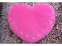 NEXT, Pink Velour Heart Cushion with silver kisses. Excellent condition. £4. Torquay.