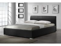BRAND NEW SWISS LEATHER BED IN BLACK WITH 12 MONTHS WARRANTY