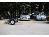 Snipe Break Back swing beam multi roller trailer for RIB Rigid inflatable power speed fishing boat