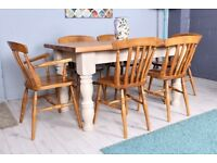 DELIVERY OPTIONS - HAND PAINTED FARMHOUSE PINE TABLE & 6 CHAIRS INCL 2 CARVERS
