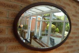 X Large Antique Vintage Edwardian Oval Bevelled Mirror