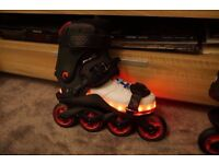 DOOP aggressive inline skates strap on black and red adjustable size wear with shoes