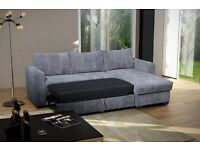 Fantastic Brand New Corner Sofa Bed With Storage .Beige or Grey.Corner to any side, Can deliver