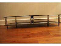 Large Black Glass & Chrome TV Stand
