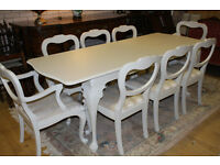 french inspired shabby chic textending table and eight chairs