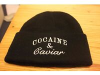 Black Cocaine & Caviar Beanie Hat. UNISEX