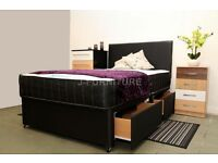 NEW STOCK! BEST PRICE! 4ft OR 4FT6 DOUBLE DIVAN BED WITH REAL ORTHOPAEDIC/MEMORY TOUCH MATTRESS