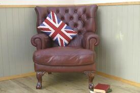 Stunning Vintage Oxblood Leather Tetrad Blake Chair.