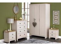 Lancaster 4 Piece 3 Door Wardrobe 4 Drawers Chest 2 Bedside Table Bedroom Set - CREAM