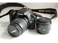Canon 500D DSLR Camera + 2 Lenses + 2 16GB SD Cards + Case