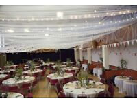 Rustic wedding decor, tablecloths and runners