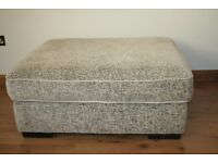Large rectangular footstool natural self patterned fabric only £100