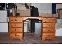 Pine Knee Hole Dressing Table 8 Drawers Bedroom Furniture