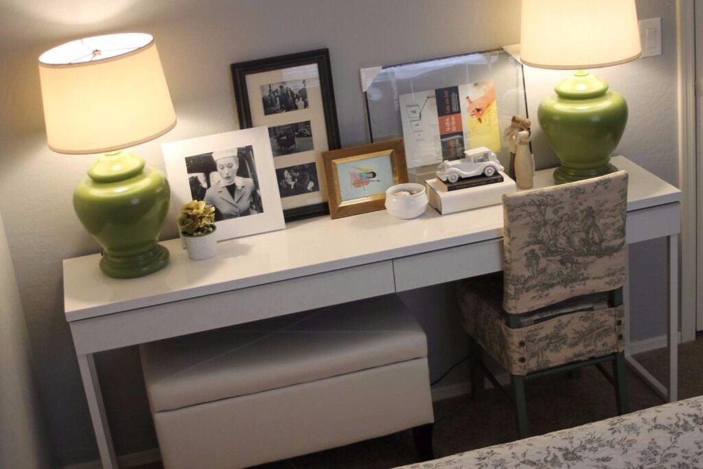 IKEA \'BESTÅ BURS\' desk - high gloss white - can be used as desk ...