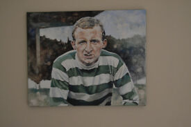 """Wee Jinky"", an original oil painting of Jimmy Johnstone by Barbara Pokryszka."