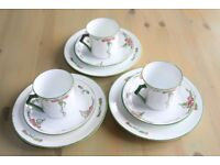 3 Trios of Fenton Bone China (Arts and Craft Style E.H.&Co)in Carnation Design