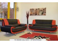 CAROL 3 AND 2 SEATER FAUX LEATHER SOFA SUITE IN BLACK RED WHITE GREY BROWN CREAM
