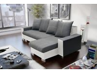 "Corner sofa bed sofa bed UK STOCK 1-5 DAY DELIVERY""Aviano"" grey-white"