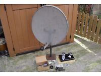 Large 65cm Satellite Dish, Mount & HD Receiver Box...and box of Parts / Accessories