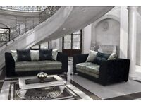 Bank holiday special 3+2 promotion sofa set 5 only to clear modern crush velvet black