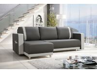 Amazing Universal New Corner Sofa Bed with Storage Grey/White Faux Leather- FREE DELIVERY